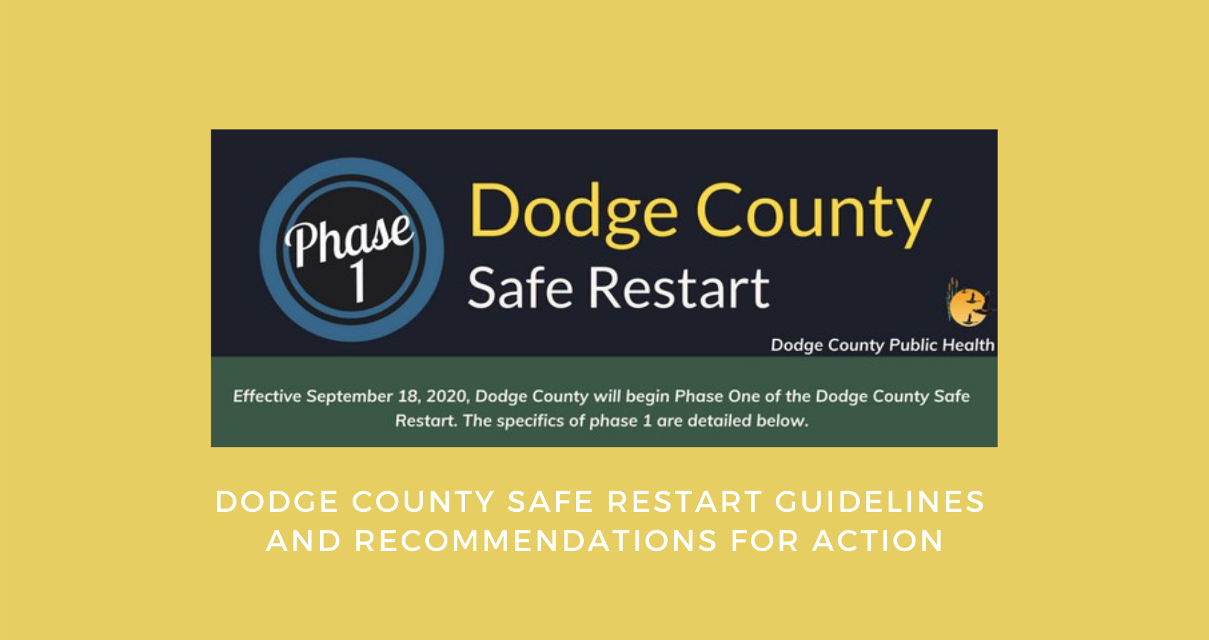 Dodge County Safe Restart Guidelines & Recommendations for Action